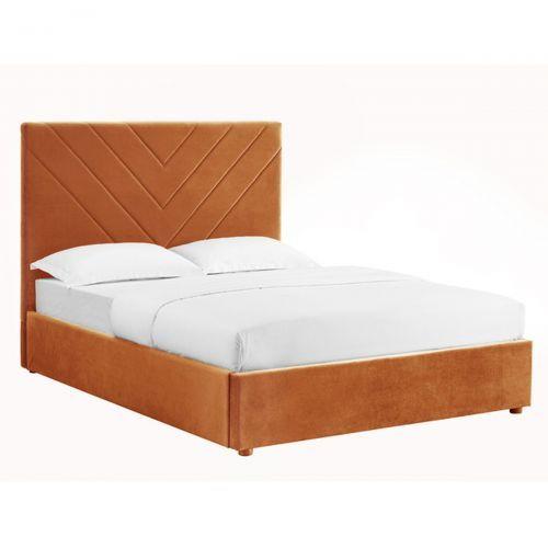 Islington Upholstered Velvet Bed Orange, Double and  Kingsize