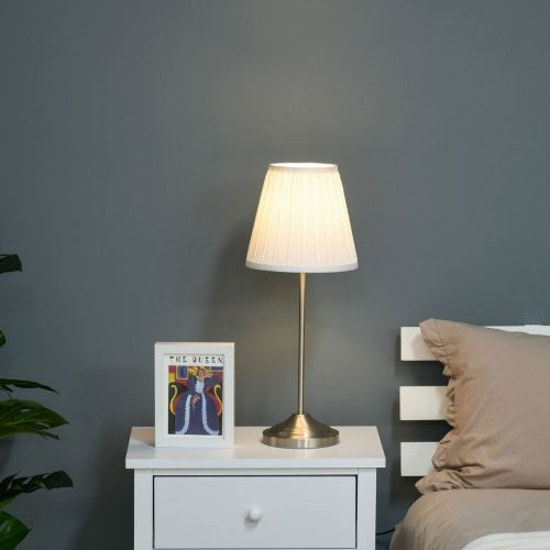 Steel Base Pleated Table Lamp with Fabric Lampshade - White