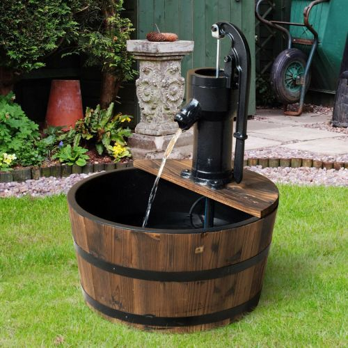 Garden Wooden Barrel Design Water Pump Fountain With Electric Tap