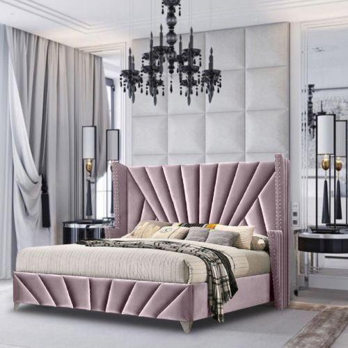 Premiere Upholstered Plush Velvet Fabric Beds Pink - 5 Sizes