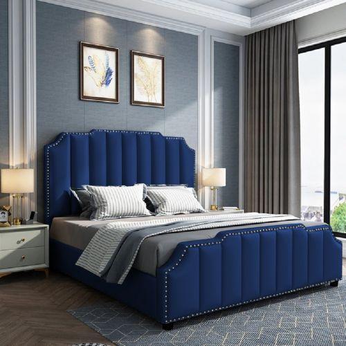 Arnold Luxurious Plush Velvet Bed, Blue Colour - 5 Sizes