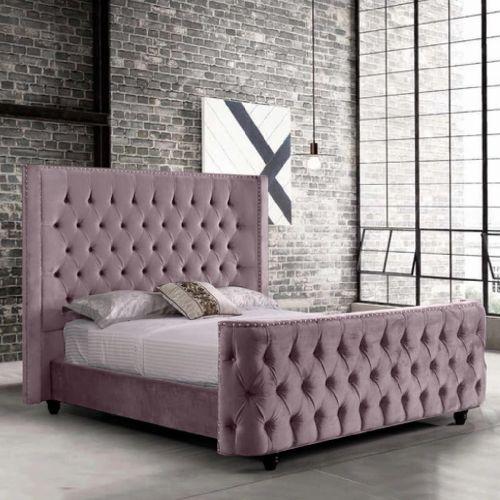 Harmony Plush Velvet Fabric Bed, Pink Colour - 5 Sizes