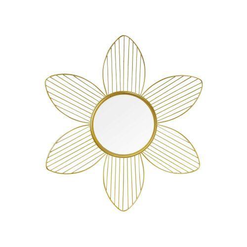 Modern Flower Hanging Mountable Bedroom Mirror - Golden