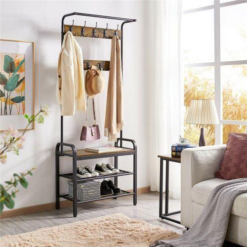 Stylish 2 Shelves Metal Coat Hangers Rack