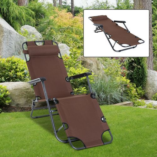 Adjustable Recliner Sun Lounge Bed With Headset - Brown