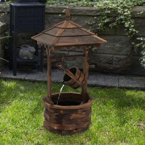 Rustic Wooden Barrel Well Garden Fountain With Pump