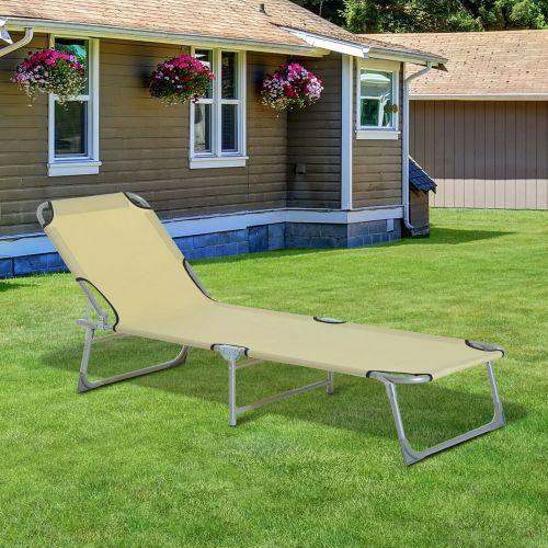 Portable Chaise Sun Lounger - Beige