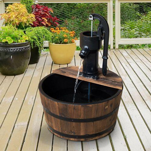 Barrel Design Garden Water Fountain With Electric Pump