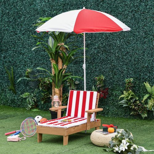 Wooden Kids Sun Lounger With Parasol - Red/White