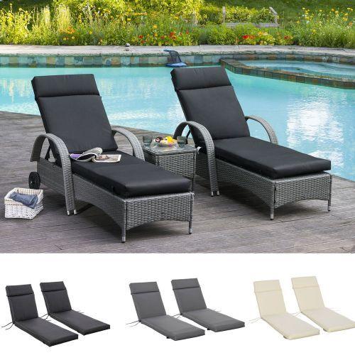 Elegant Non-Slip Sun Lounger Cushion Pads Set Of 2 - 3 Colours