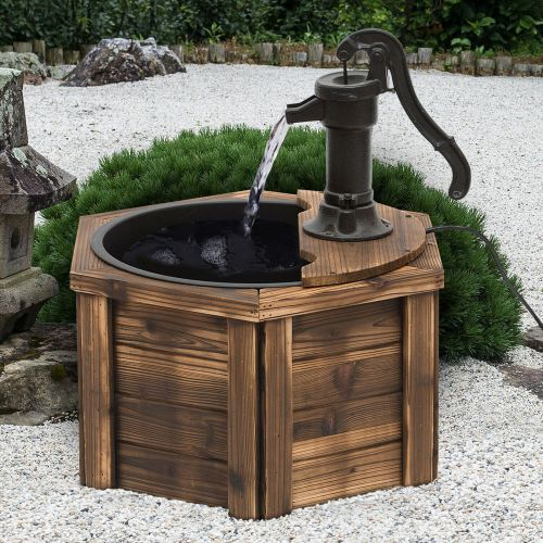 Vintage Style Garden Electric Water Fountain with Hand Pump - Carbonized Wood