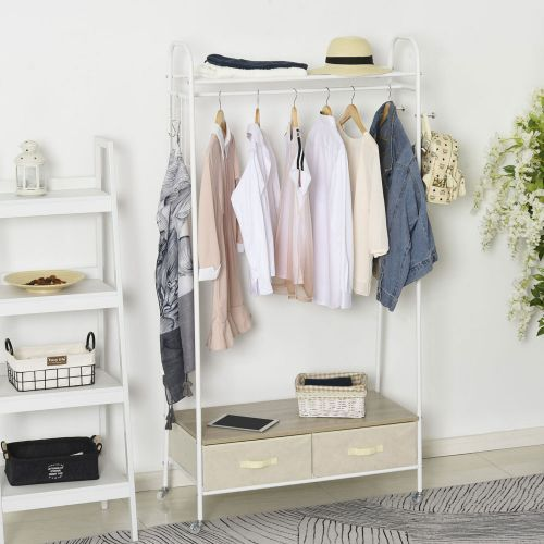 Metal Frame Rolling Coat Rack Stand With 2 Drawers - White