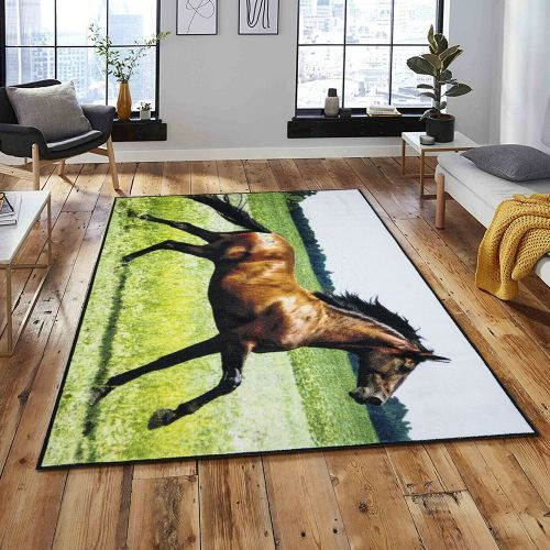 Extra Large Premium 3D Printed Mat Brown Horse Rug - 160 x 230 cm