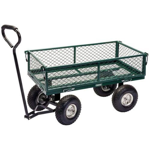 Draper Tools Steel Mesh Gardeners Cart 86.5x46.5x21 cm Green and Black
