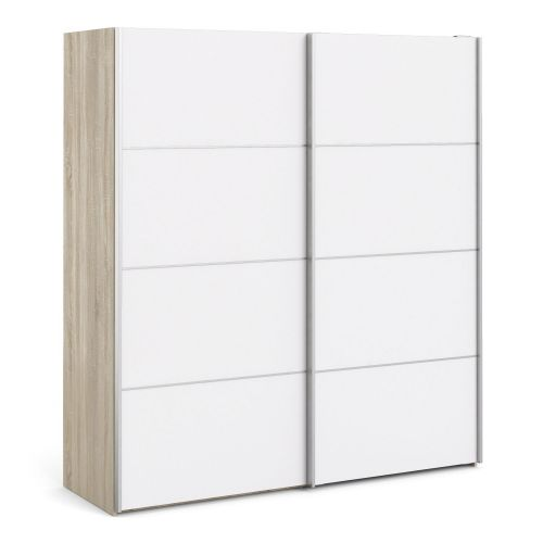 Verona Sliding Wardrobe 180cm in Oak with White Doors with 2 Shelves - Oak and White