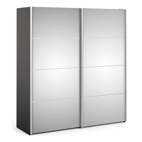 Verona Sliding Wardrobe 180cm in Black Matt with Mirror Doors with 2 Shelves - Black Matt and Mirror