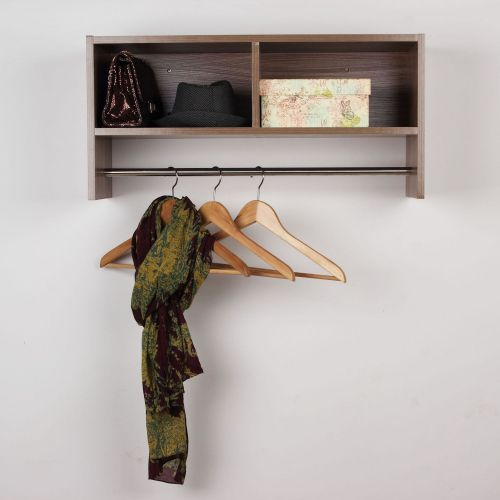 Homcom Wall Mount Coat Hanging Rail Shelf Rack - Oak or White