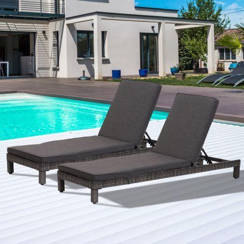 Outsunny Adjustable Rattan Sun Lounger Set x 2 - Black, Grey or Brown
