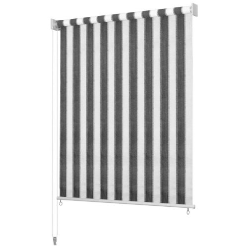 Outdoor Roller Blind 140x140 cm Anthracite and White Stripe