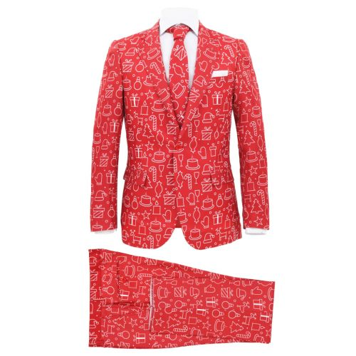 2 Piece Men's Christmas Suit with Tie Size 46 Gifts Red