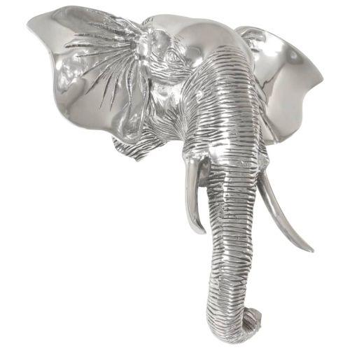 Elephant Head Sculpture Solid Aluminium 38x19x36 cm Silver