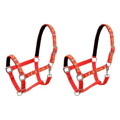 Head Collars 2 pcs for Horse Nylon Size Cob Red