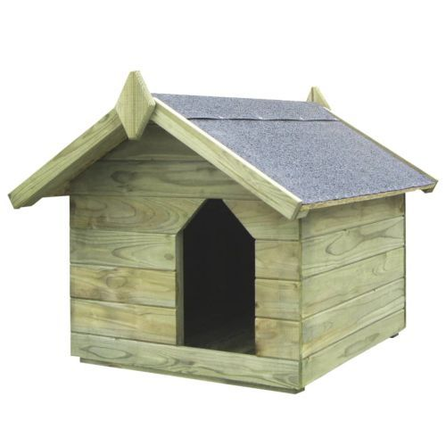 Garden Dog House with Opening Roof Impregnated Pinewood