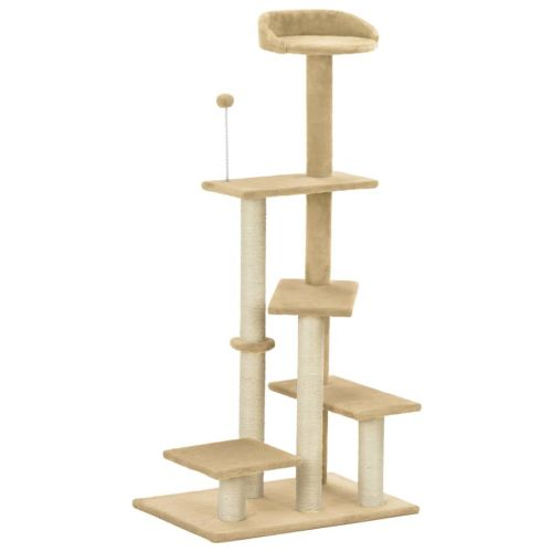 Cat Tree with Sisal Scratching Post Beige 125 cm