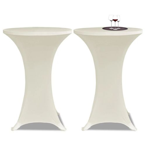 Standing Table Cover Ø80cm Cream Stretch 2 pcs