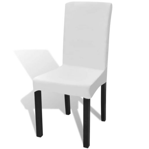 6 pcs White Straight Stretchable Chair Cover