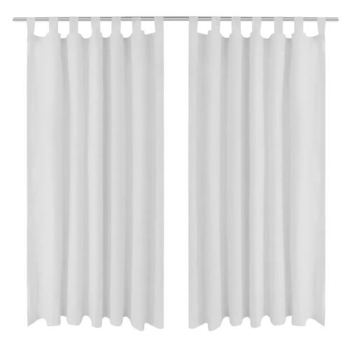 2 pcs White Micro-Satin Curtains with Loops 140 x 245 cm