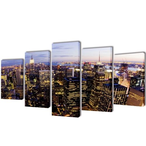 Canvas Wall Print Set Birds Eye View of New York Skyline 200x100cm