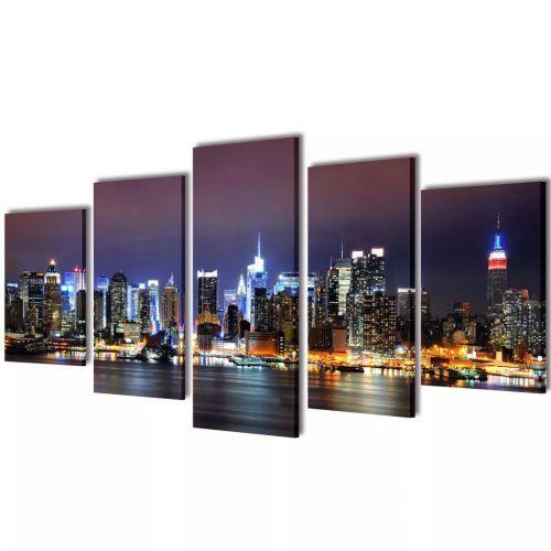 Canvas Wall Print Set Colourful New York Skyline 200 x 100 cm