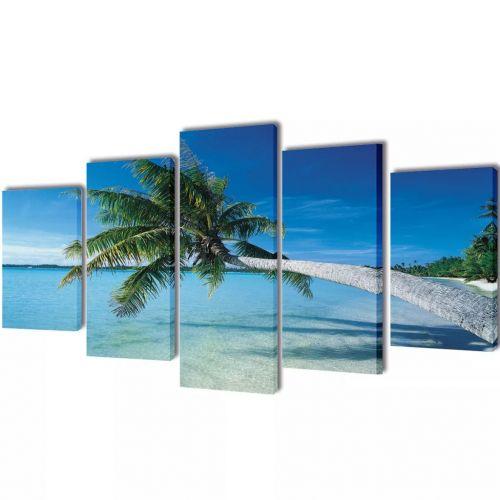 Canvas Wall Print Set Sand Beach with Palm Tree 100 x 50 cm