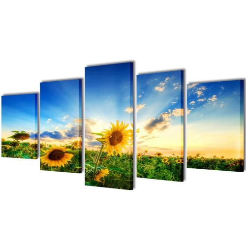 Canvas Wall Print Set Sunflower 200 x 100 cm