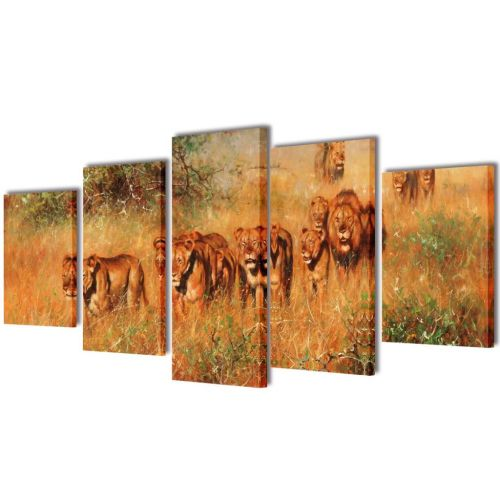 Canvas Wall Print Set Lions 200 x 100 cm