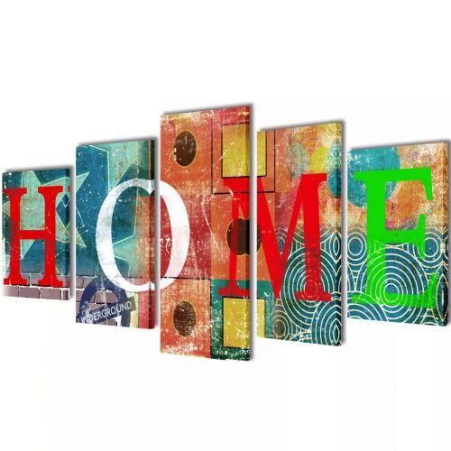 Canvas Wall Print Set Colourful Home Design 100 x 50 cm