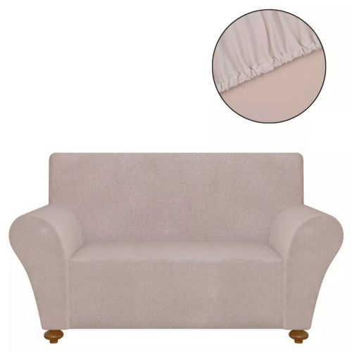 Stretch Couch Slipcover Beige Polyester Jersey