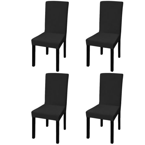 Straight Stretchable Chair Cover 4 pcs Black
