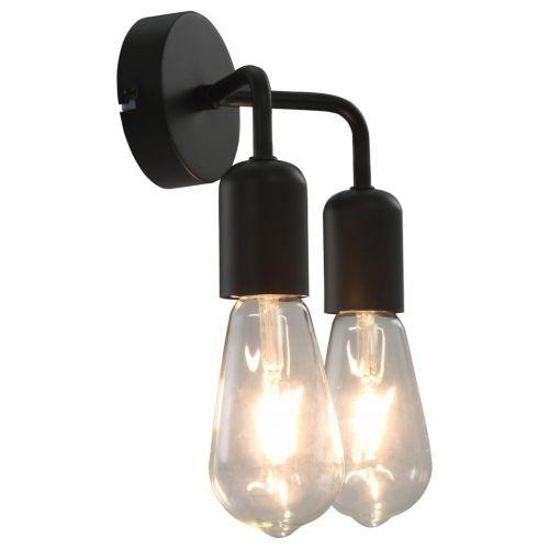 Wall Light with Filament Bulbs 2 W Black E27