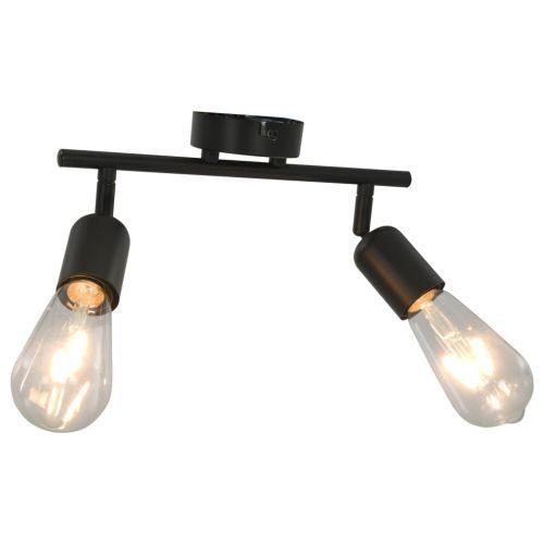 2-Way Spot Light with Filament Bulbs 2 W Black E27