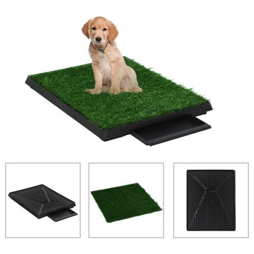 Pet Toilet with Tray & Faux Turf Green 63x50x7 cm WC