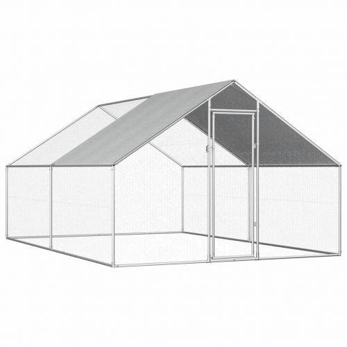 Outdoor Chicken Cage 2.75x4x1.92 m Galvanised Steel