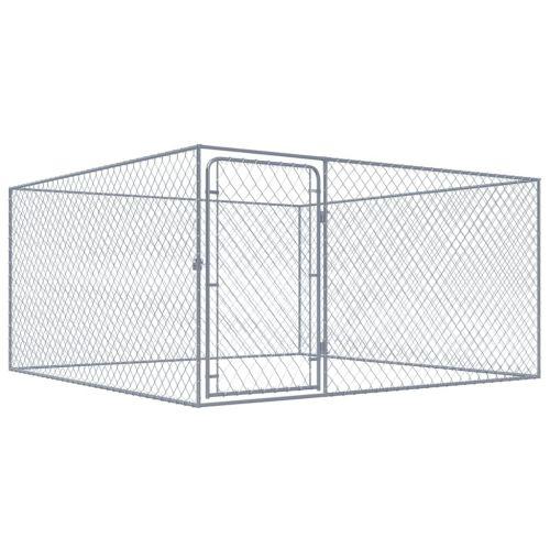 Outdoor Dog Kennel Galvanised Steel 2x2x1 m