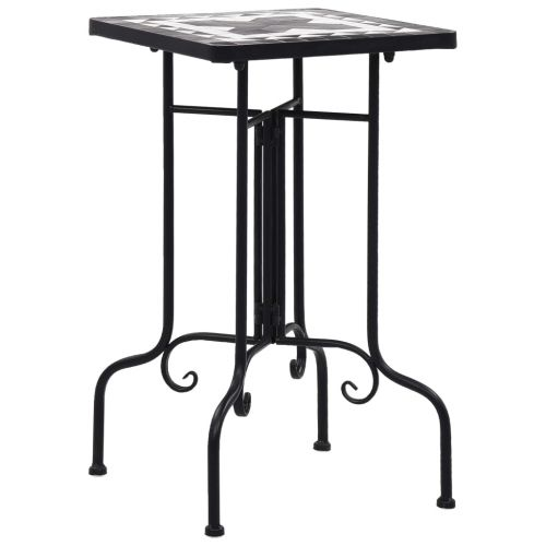 Mosaic Side Table Black and White Ceramic