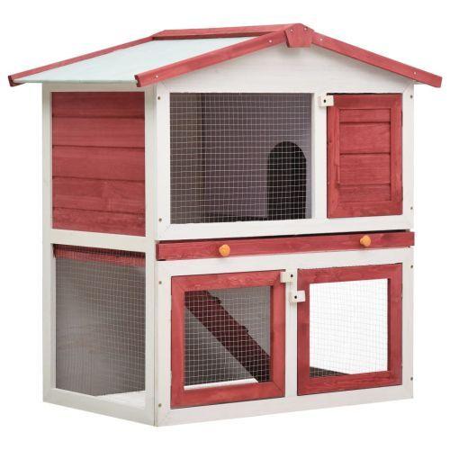 Outdoor Rabbit Hutch 3 Doors Red Wood