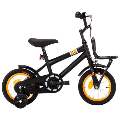 Kids Bike with Front Carrier 12 inch Black and Orange