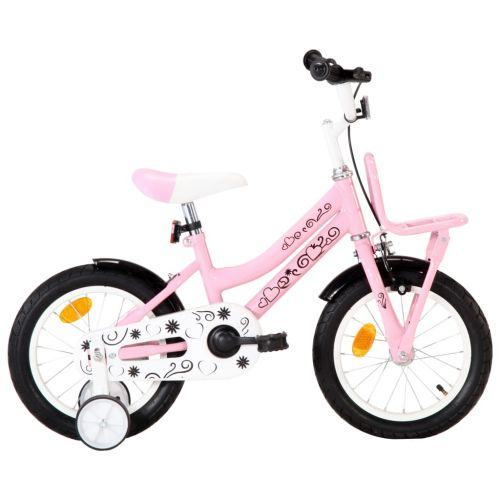 Kids Bike with Front Carrier 14 inch White and Pink