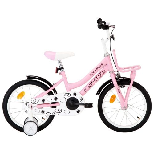 Kids Bike with Front Carrier 16 inch White and Pink
