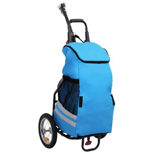 Folding Cargo Bike Trailer with Grocery Bag Blue and Black